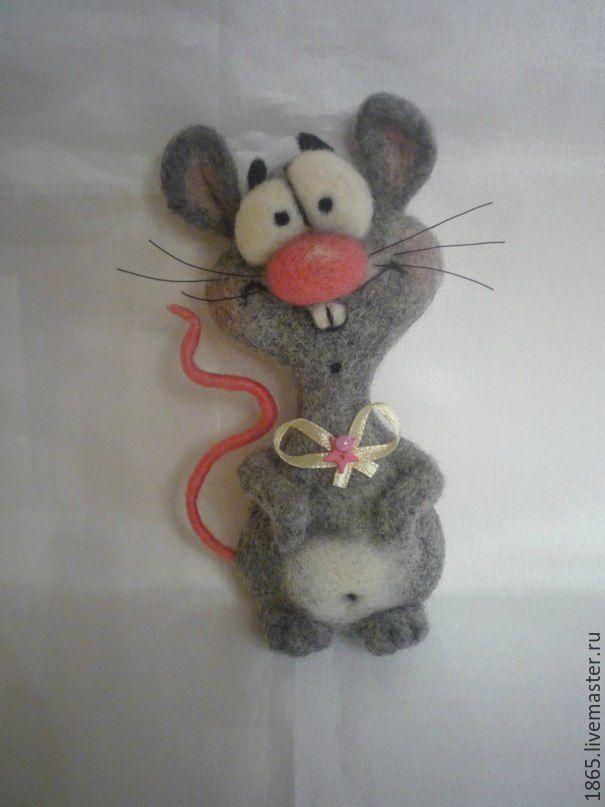 """Купить Авторская брошь """" Мыша Миша"""" - мышонок, подарок, миша, войлок ручной работы"""