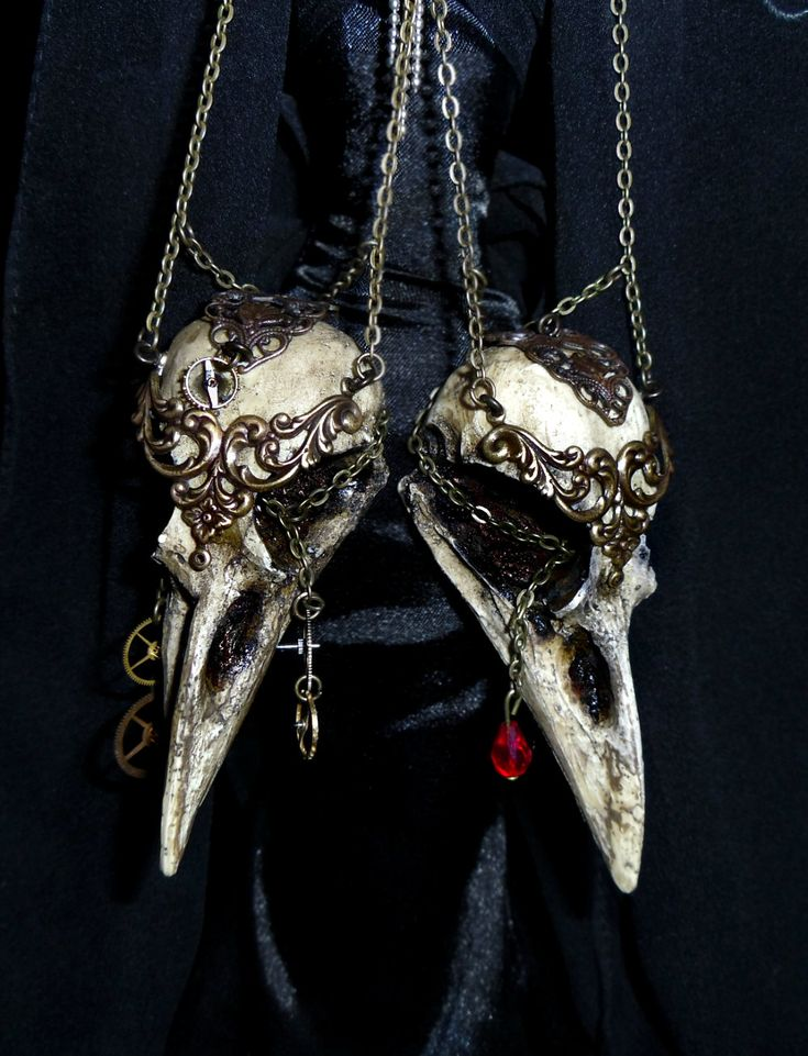 WarriorCrow crow skull necklace pendant via Etsy. by MortisM