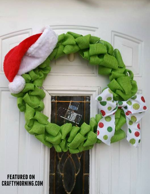 DIY The Grinch Stole Christmas burlap wreath...this is adorable!