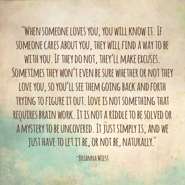 When someone loves you, you will know it. If someone