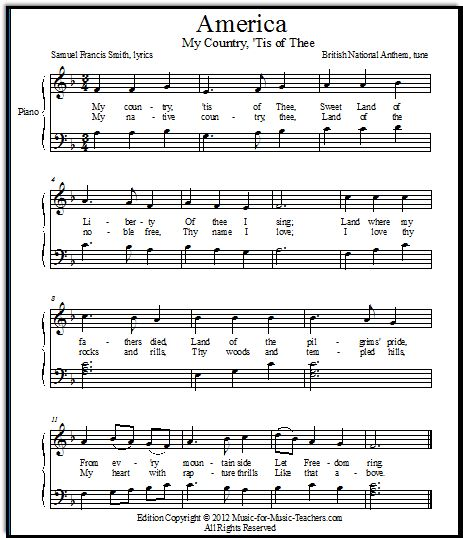 Free Printable Sheet Music For Piano: Another FREE Printable Sheet Music Version Of My Country