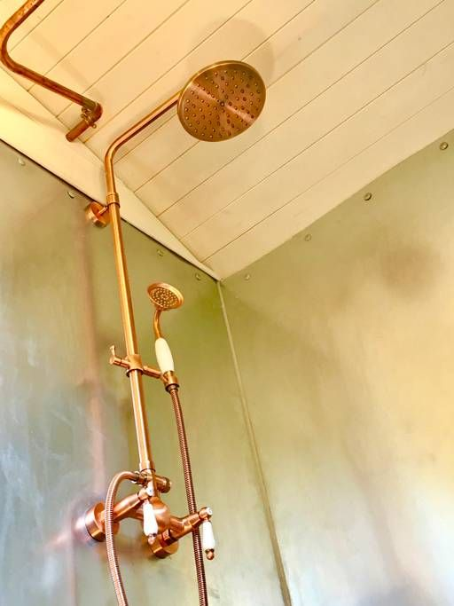 All the fittings in the hut are made from copper or brass