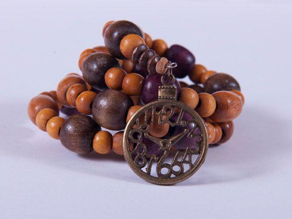 wooden beads & memory wire bracelet - NX_4741