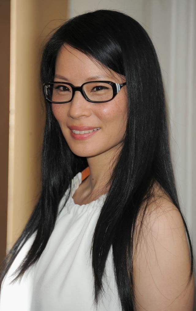 Blk with temple bling - The Best Black Frame Eyeglasses: Lucy Liu