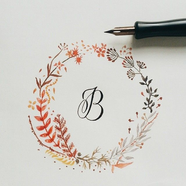 B | Calligraphy with floral watercolor wreath
