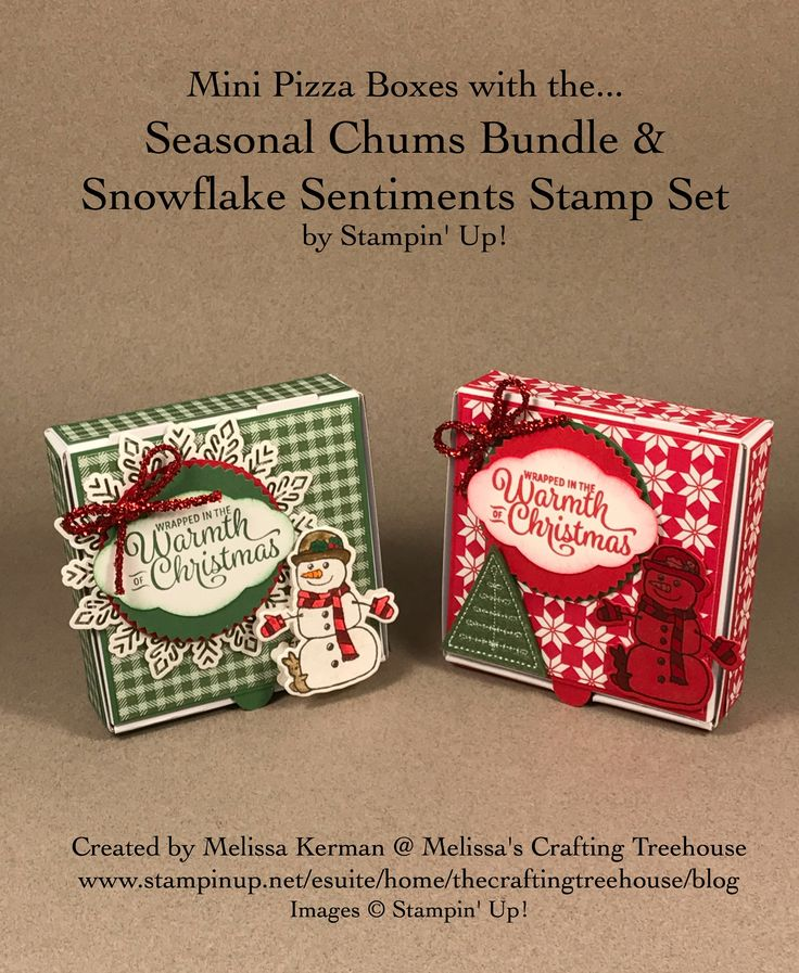 Mini Pizza Boxes and Gift Packages with Seasonal Chums, Snowflake Sentiments plus lots more fun products from the Stampin' Up! 2017 Holiday Catalog.