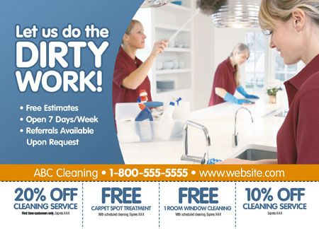 19 Brilliant Cleaning Services Maid Janitorial Direct Mail Postcard Advertising Examples