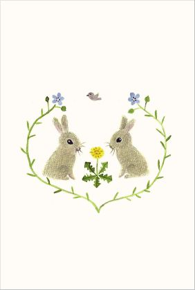 "postcard ""rabbits emblem"" from ""LINNET"",Japanese design cotton fabrics."