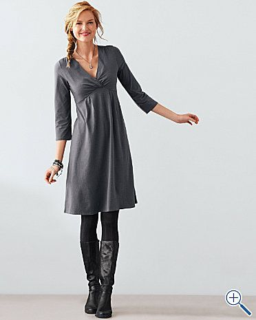Gather V-Neck Jersey Dress - looks comfy and casual.