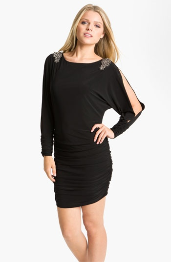Xscape Split Sleeve Ruched Jersey Dress available at #Nordstrom