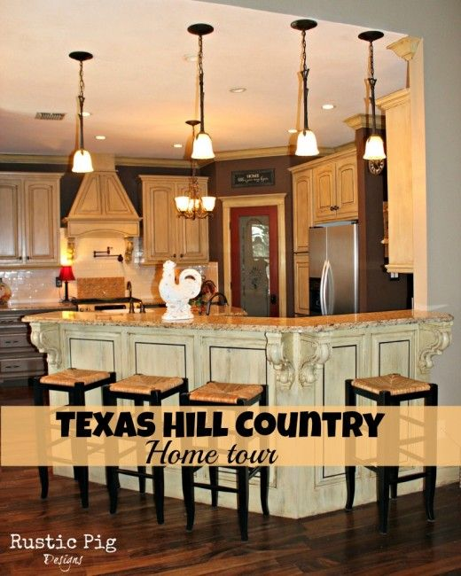 Love the cabinets and island texas hill country home tour for Texas hill country design