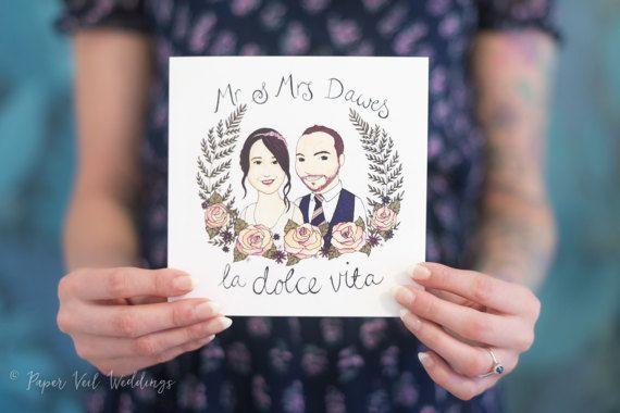 Couple Portrait Illustration - Custom Invite/Stationery by PaperVeilStationery now at https://ift.tt/2G0aDRn