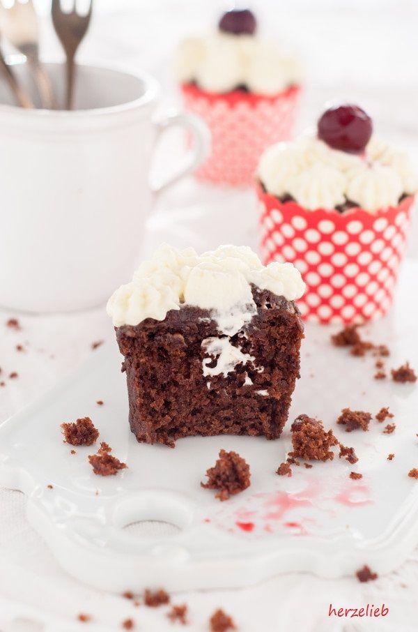 Schwarzwälder Kirsch Cupcakes - klein Leckerei, statt großer Torte