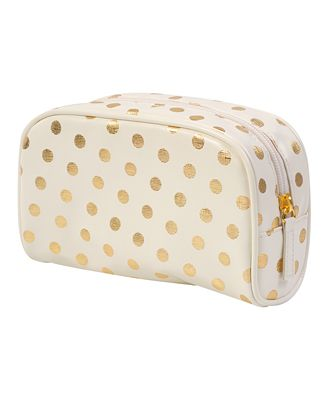 My new makeup bag: Metallic Polka Dot Cosmetic Bag from Forever 21