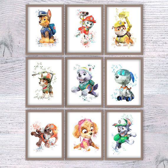 Paw patrol watercolor poster Set of 9 Paw patrol art print Wall hanging art decor Home decoration Kids room wall art Nursery room decor ♥ SAVE 30% ♥  ♥ Please see all my posters in my shop here: https://www.etsy.com/shop/ColorfulPoster?ref=hdr_shop_menu ♥ Set of prints available with DISCOUNT: https://www.etsy.com/shop/ColorfulPoster?ref=hdr_shop_menu&section_id=18478020  Print sizes: A5 - 5.80 x 8.30 (210mm x 148mm) or US 5x7 inches ♥ $7,60 instead of $10,90 per print ♥ A4 - 8.30 x 11.70…