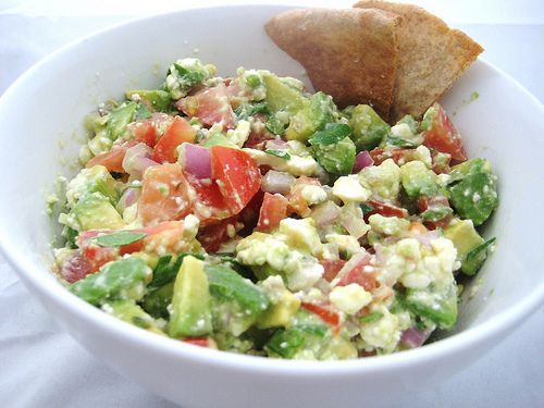Avocado Feta Salsa - This is always a surprise hit!  If you make this the evening before, combine all ingredients except for the avocado. Add it in right before guests arrive.  If you do not have the fresh herbs, substitute a teaspoon of the dried kind.  This is great served with pita chips, or baked flour tortillas.