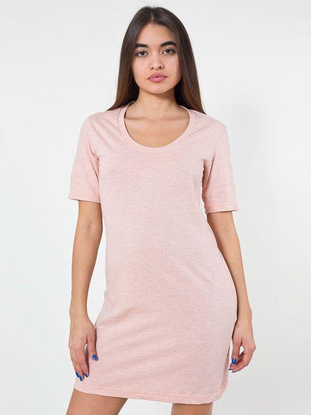 【ファインジャージーショートスリーブクルーネックTシャツドレス】カジュアルなクルーネックのロングTシャツ。一枚でも、レギンスや…