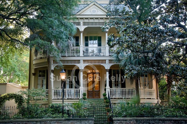 Lovely antebellum homes surround Forsyth Park - in Downtown Savannah, GA, the largest National Historic Landmark District in the United States.