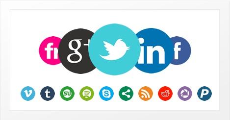 Grote, eenvoudige social media iconen » Iconenset die bestaat uit 28 eenvoudige maar scherp gekleurde sociale iconen. Download deze set in .PNG formaat in een resolutie van 500×500 pixels.