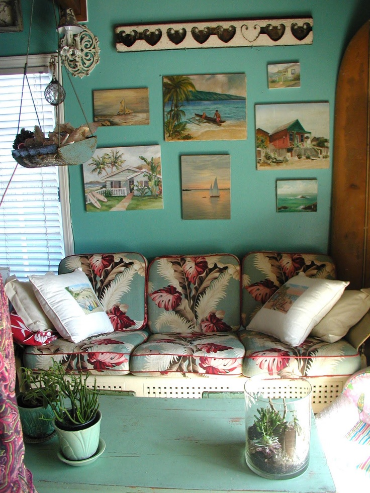 Love the vintage Barkcloth and the paintings