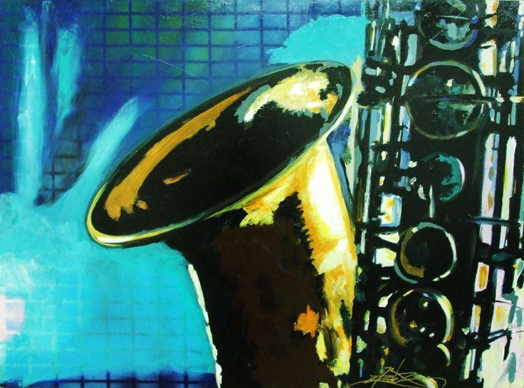 Jazz Club in New York © Dan Groover - Figurative Expressionism - Stencil, Acrylic & Spray on Canvas 89 cm x 67 cm