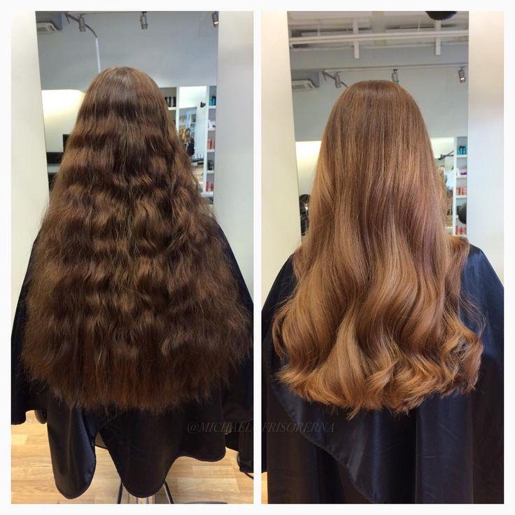 Wow vilket #hår !   Snyggt redan innan men det går inte att jämföra med resultatet efter✨  Ammi är stjärnan bakom detta verk Fler och fler vill ha en matchande #färg till #hösten nu när den verkligen är här, riktigt roligt! #michaelofrisorerna #hairpassion #stockholm #ombre #ombrehår #ombrehair #balayage #olaplex #olaplexsweden #hair #hairstyle #hairstylist #hår #haircolour #hairfashion #Longhair #hairdresser #blondehair #blonde #brownhair #curlyhair