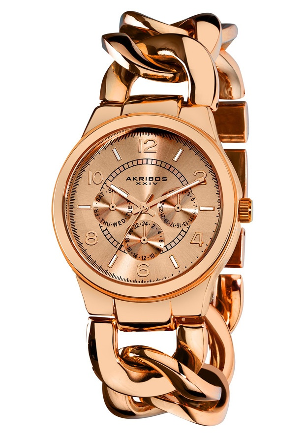 Price:$85.00 #watches Akribos XXIV AK531RG, The rose dial creates a fantastic appearance on this sleek, stylish, Akribos XXIV, ladies watch. The rose-tone chain helps to bring the look together for something that is sure to catch the eye. The analog features a high quality quartz movement that displays the day, date, and GMT.
