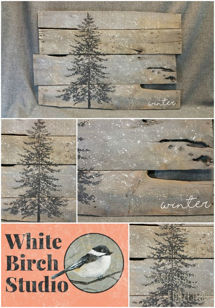 Item details 5 out of 5 stars.      (229) reviews Shipping & Policies Pallet Wall Art pine tree, winter, snow, Reclaimed wood, Gray wood, hand painted, ORIGINAL, One-of-a-kind, shabby chic  This large, unique piece is 31in. wide x 21 in tall. It is hand painted (not stenciled) in a free-form, shadow appearance and there is falling snow over it. It has been stained with a water-based gray stain.