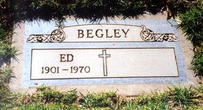 "Ed Begley (1901 - 1970) Actor. An imposing character player, he was often cast as a corrupt or misguided authority figure. He won a Best Supporting Actor Oscar for his role as Boss Finley in the film ""Sweet Bird of Youth"" (1962). father of Ed Begley, Jr."