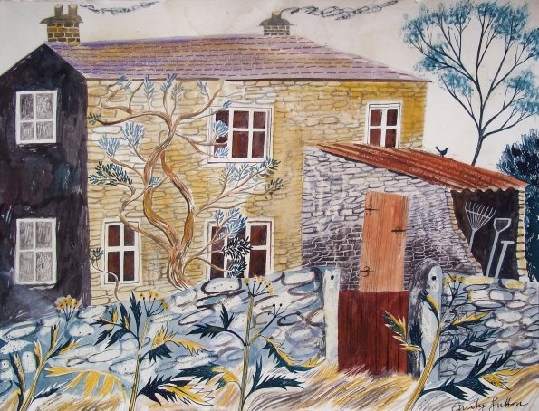 """Stone Cottage, Carlton"" by Emily Sutton  (ink and watercolour on paper)"