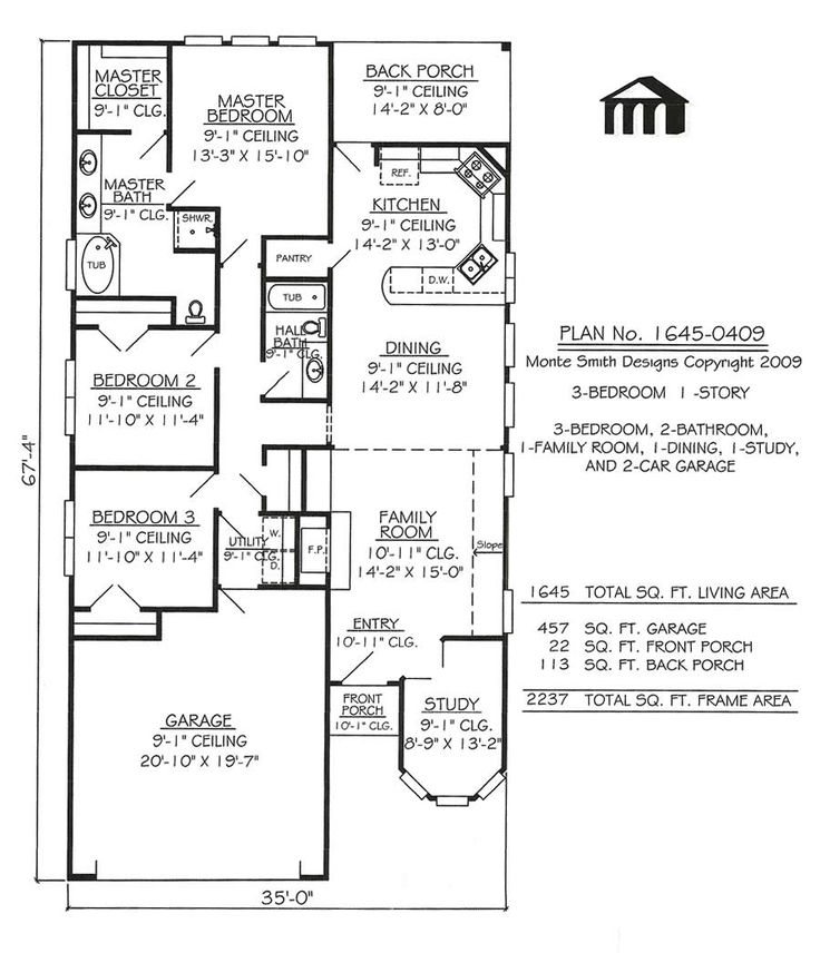 Narrow lot apartments 3 bedroom story 3 bedroom 2 for One story two bedroom house plans
