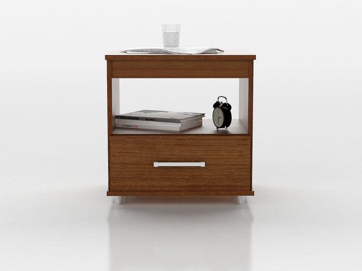 Diseños sencillos y funcionales. Con cajón para depositar los elementos de valor y superficie para apoyar elementos diarios junto al velador.