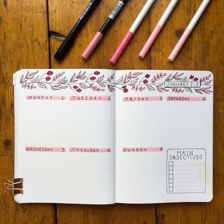 This weeks spread - I'm not sick of the pink yet which is a good sign Also my partner helped decorate by spilling half his coffee across the corner . #bulletjournaling #bulletjournal #bujo #bulletjournalweekly #bulletjournallove #planner #bujoideasrepost #bujobeauties #weeklyspread