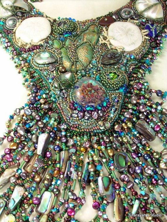 Enchanting Mermaid  Bead Embroidery Necklace by 4uidzne on Etsy