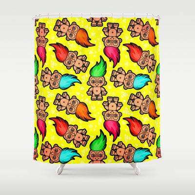 Troll Doll Pattern Shower Curtain by chobopop - $68.00