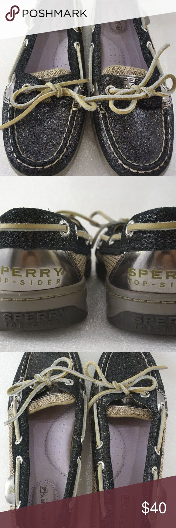 """Sperry Top-Sider 5.5 Women Boat Shoes Sparkle Great condition Sperry Top-Siders boat shoes for sale.   Size: 5.5M Measurements Length: 9.35"""" from back of sole to very front of toe Width: 3.35"""" measured at widest part of shoe  I will ship out within 24 hours of receiving payment. Thank you Sperry Shoes Flats & Loafers"""