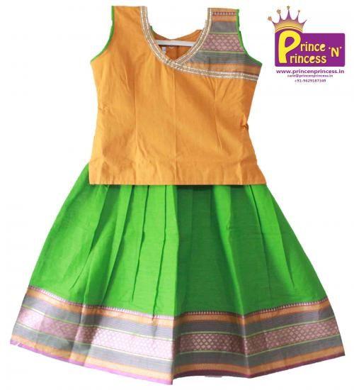 BUY Kids South India style Cotton Lehenga @ www.princenprincess.in #south #india #pavadai #pavadai #cotton #pavada #silk #pattu