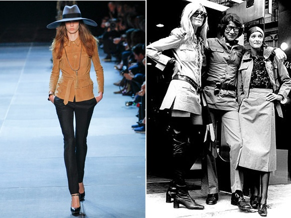 Inspiration from the safari look made famous by Yves in 1968.