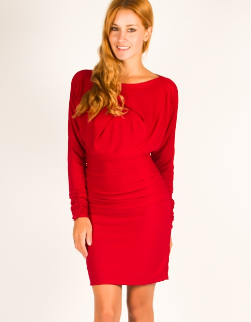 Long sleeve jersey dress with gatherings on the sleeves and waist, drapped neck and zipper closure on the back. #fw13 #fashion #womensfashion #dress #clothes #love #chic