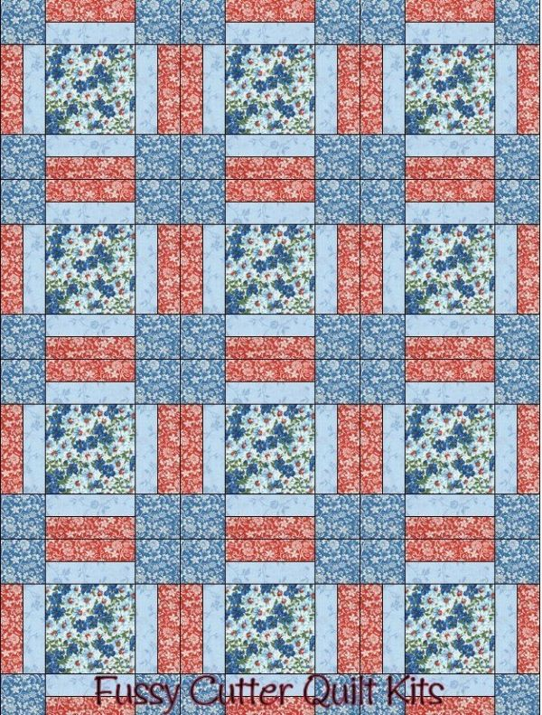 Turquoise Blue Red Flowers Floral Fabric Fast Easy