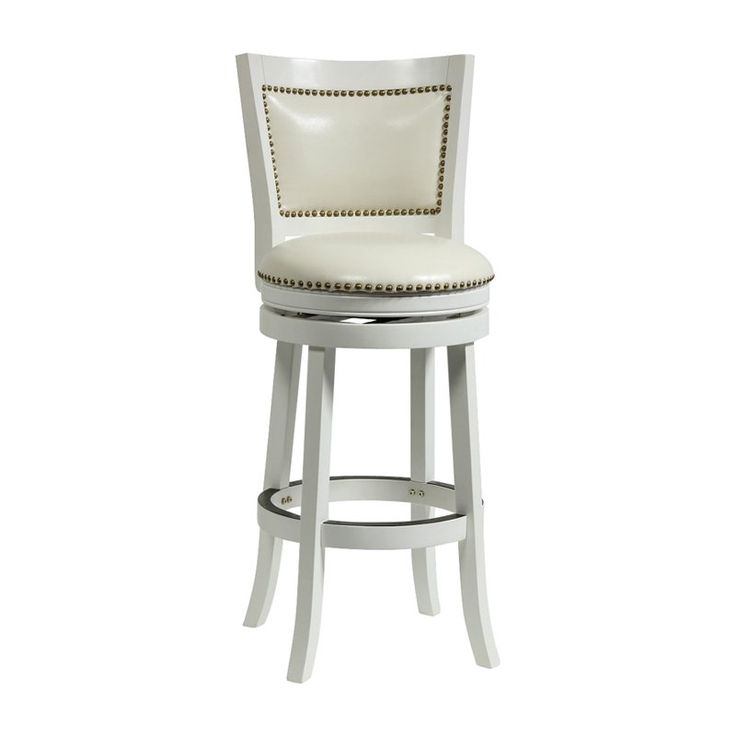 Boraam Bristol Leather 24 in. Swivel Counter Stool White - 42424