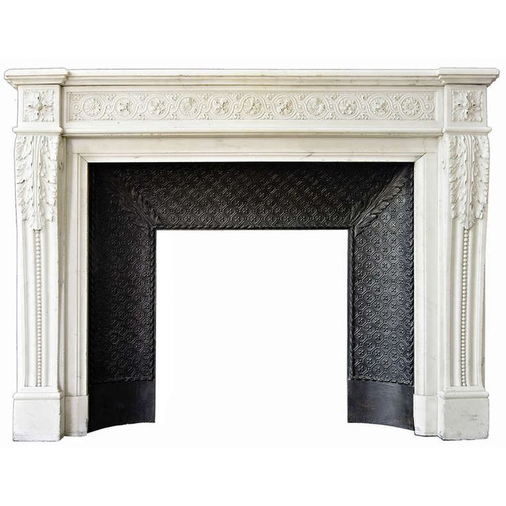 "Antique Louis XVI ""Macaron"" Fireplace Chimneypiece made of Statuary Carrara Marble, Napoleon III Period."