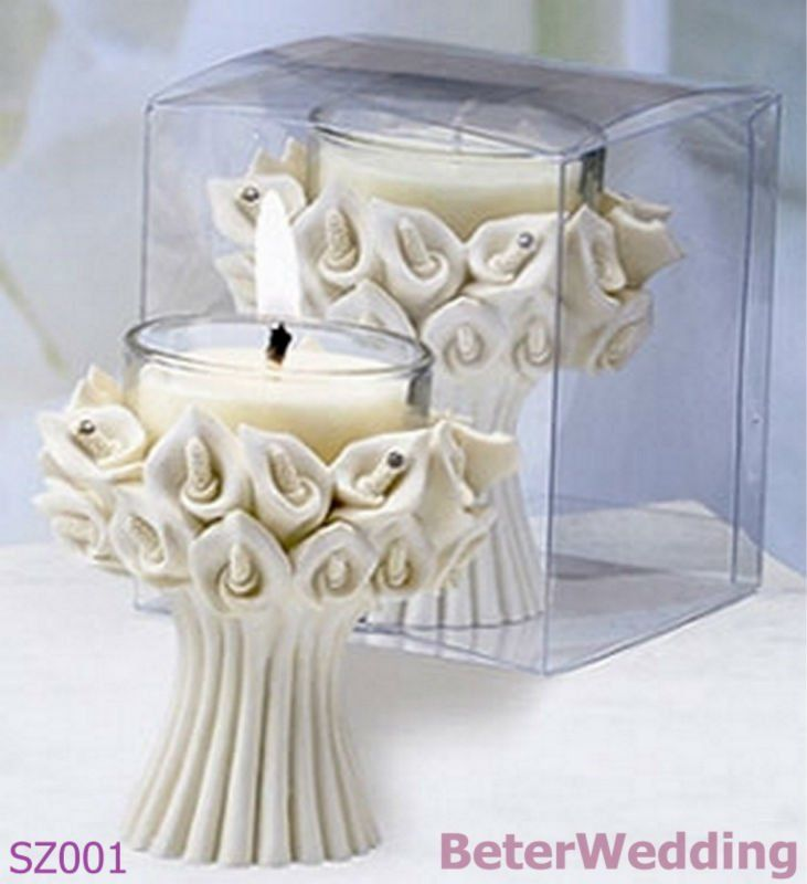 Calla Lilly Candle Favor SZ001 wedding favors and wedding gifts wedding decoration      Your Wedding Candles, Home Decor Candle Holders http://www.aliexpress.com/store/product/Free-Shipping-4pcs-box-romantic-wedding-party-decoration-WJ066-Place-Cards/513753_1241531682.html #weddingcandles #candles #beach #candleholders