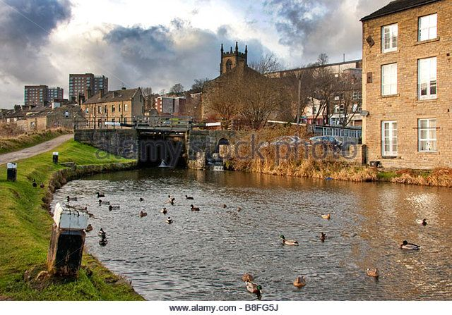 Rochdale Canal at Sowerby Bridge, near Halifax, West Yorkshire - Stock Image