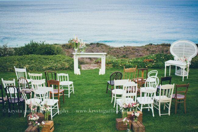 Mismatched wedding ceremony chairs