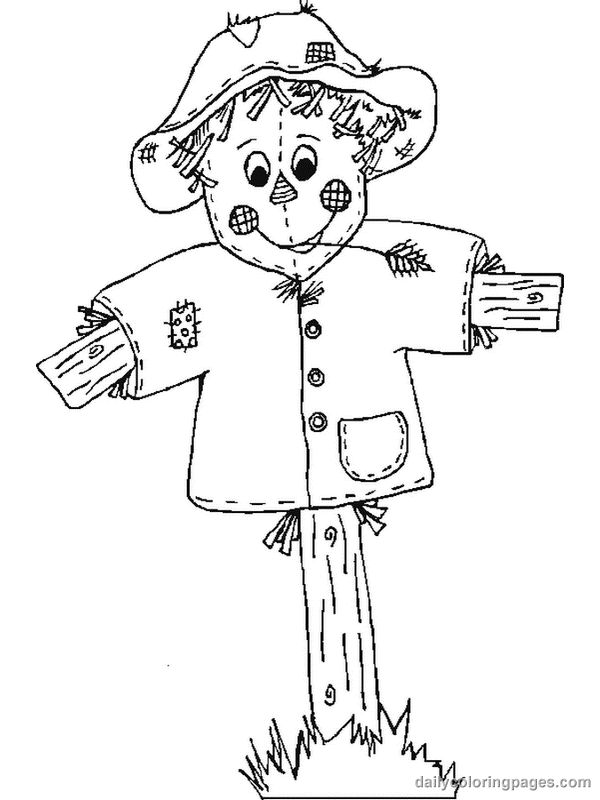 Scarecrow Fall Coloring Pages 2
