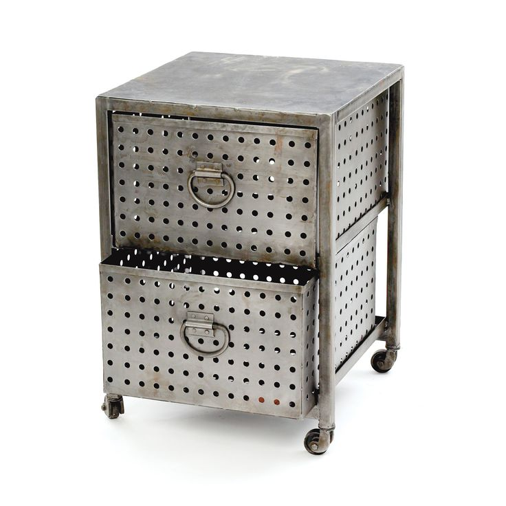 Perforated Metal Cart | dotandbo.com This heavy-duty cart combines daily utility with fashionable industrial style. The sides and deep drawers are made of matte perforated metal, making it well suited to the office or garage as well as the living room.