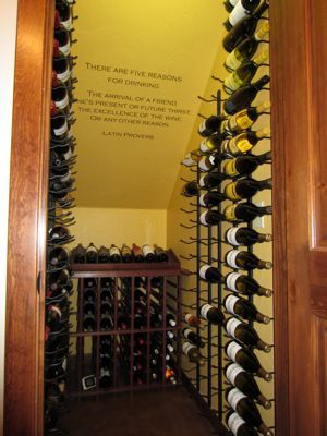 Our under-stairs wine cellar, that we installed in an otherwise useless closet.