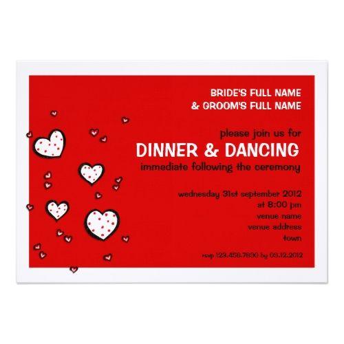 Polka Dot Wedding Reception Dotty Hearts red Wedding Reception Invitation
