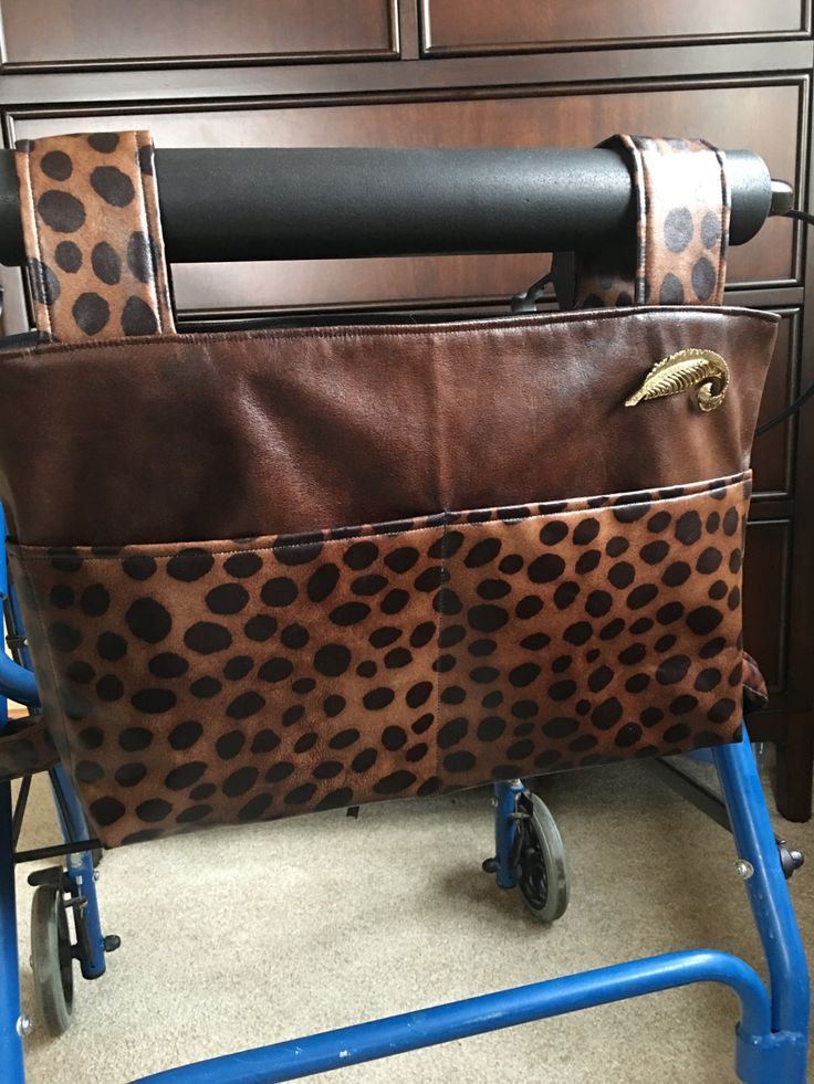 Leopard print,Elegant walker bag, Rollator, mobility accessory, nursing home gift, assisted living gift, Zimmer frame, walker caddy by OnTheMoveByMarlys on Etsy